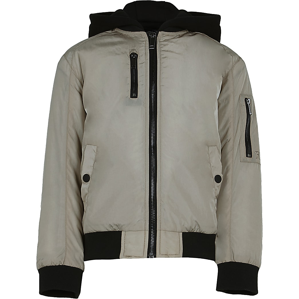 Boys beige hooded utility bomber jacket