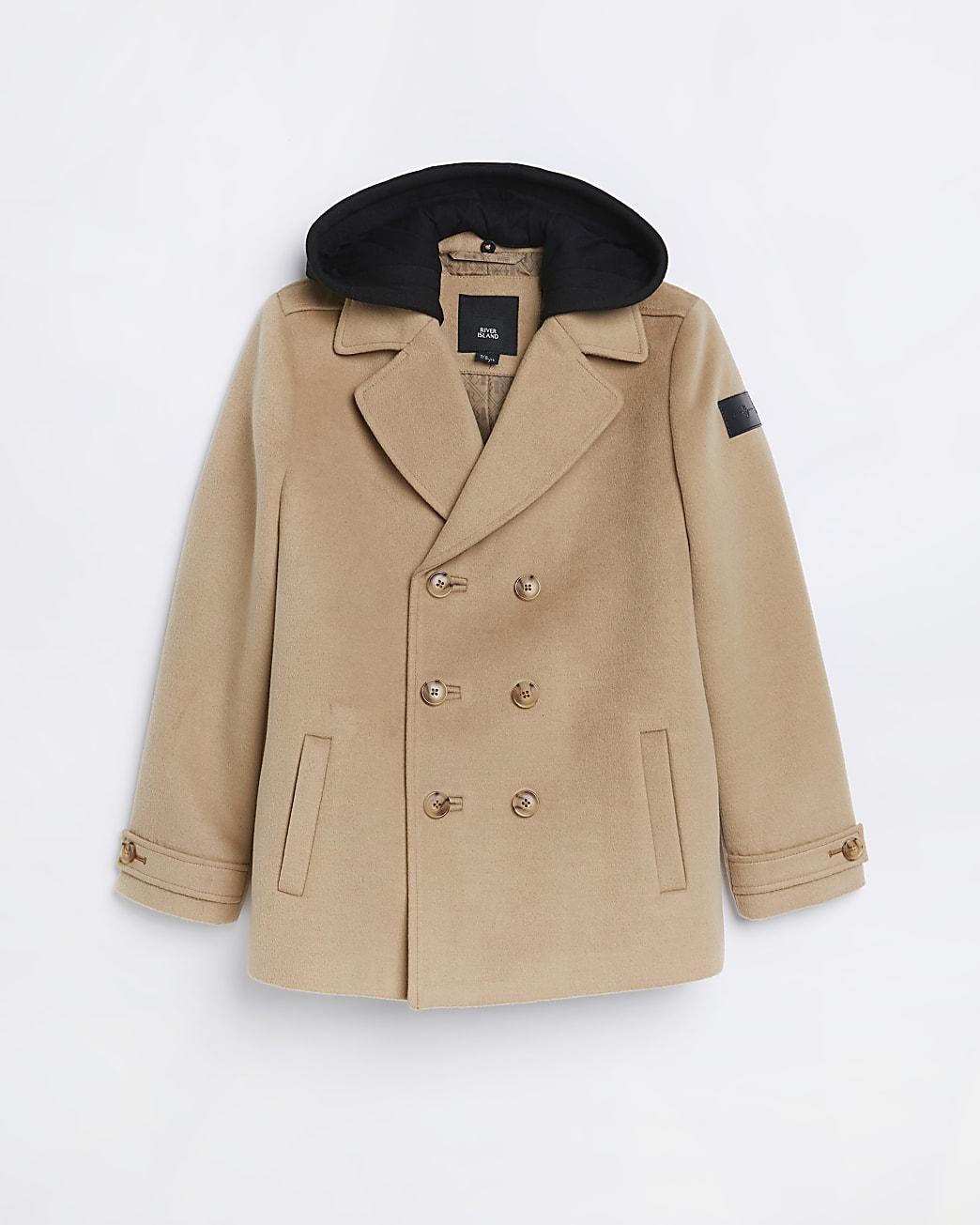 Boys beige hooded wool coat