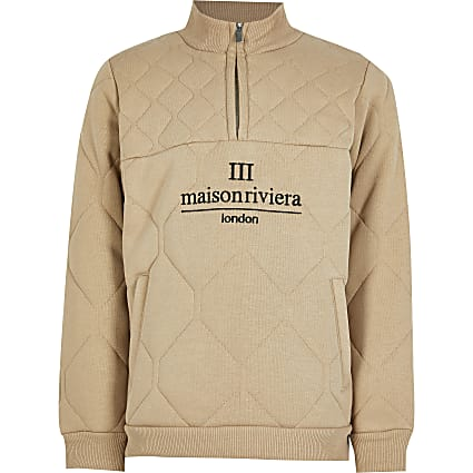 Boys beige quilted funnel neck sweatshirt