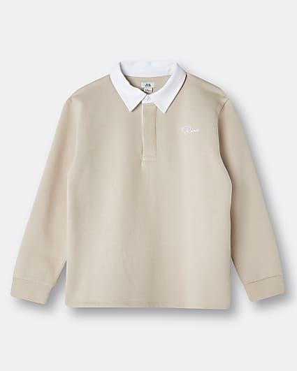 Boys beige River long sleeve polo shirt
