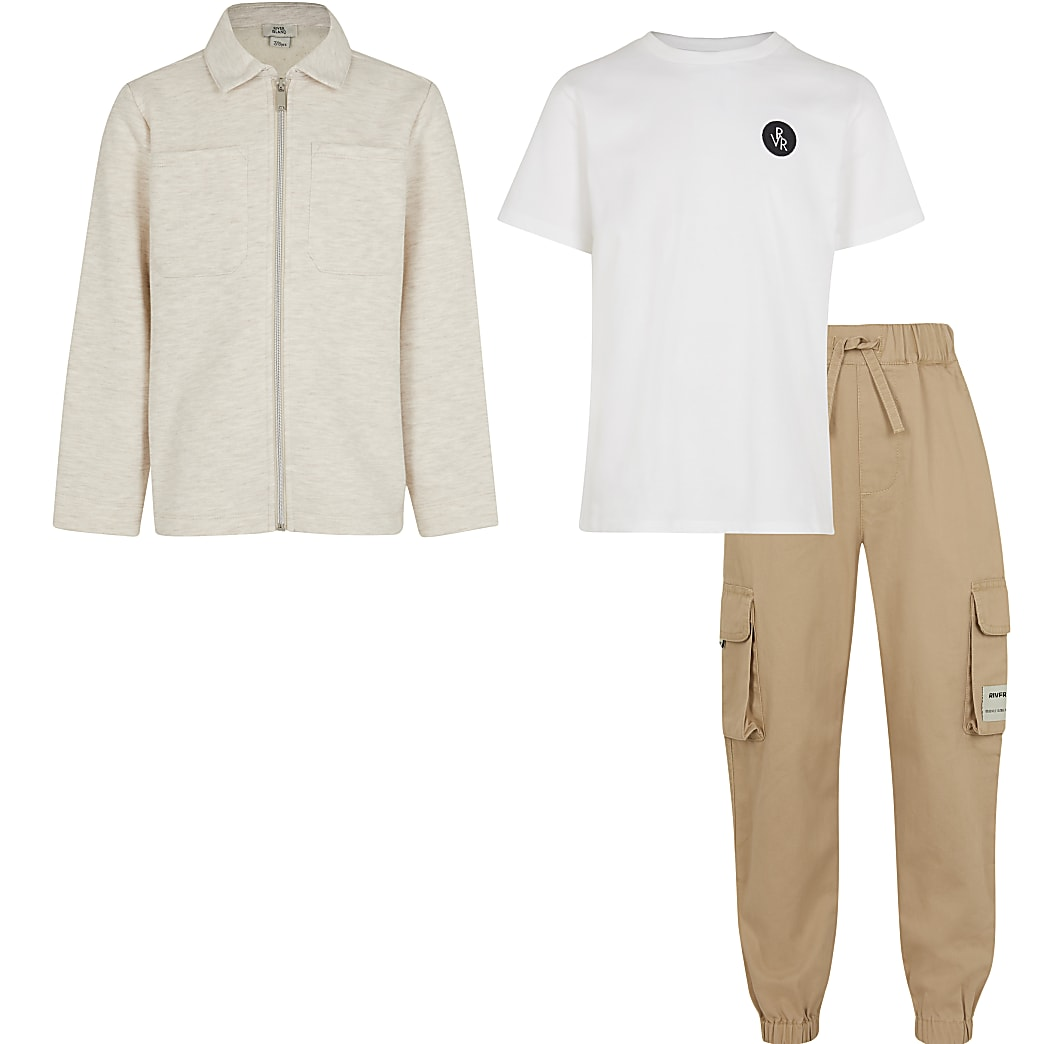 Boys beige shacket and trouser 3 piece set
