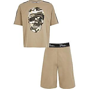 Beige pyjama met doodshoofd-print voor jongens