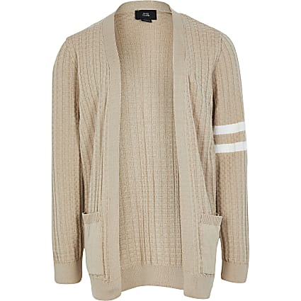 Boys beige stripe cardigan