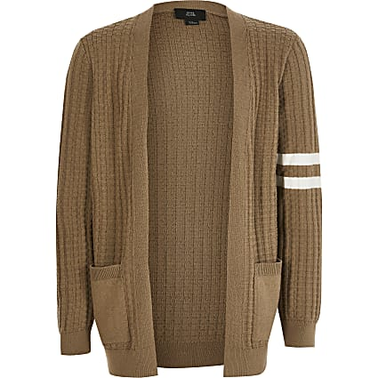 Boys beige stripe knitted cardigan