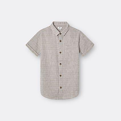 Boys beige texture short sleeve shirt