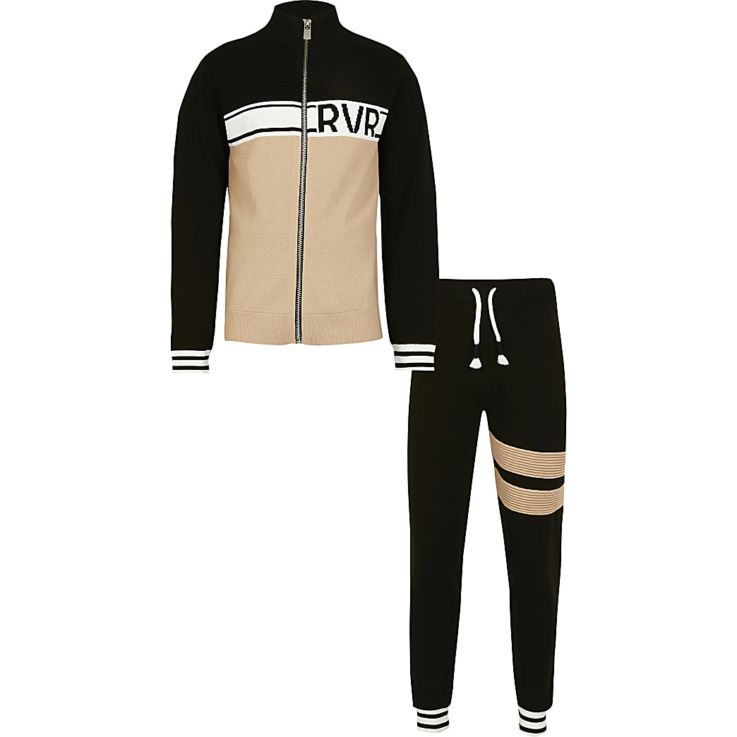 Boys black 2 piece track top outfit