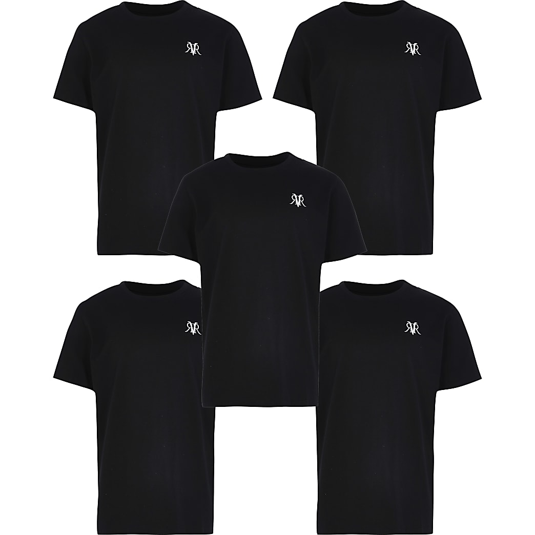 Boys black 5 pack t-shirts