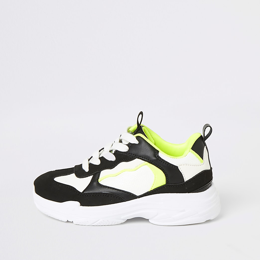 Boys black and neon chunky lace-up trainers