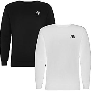 Lot de2 sweats RVR noir et blanc pour garçon