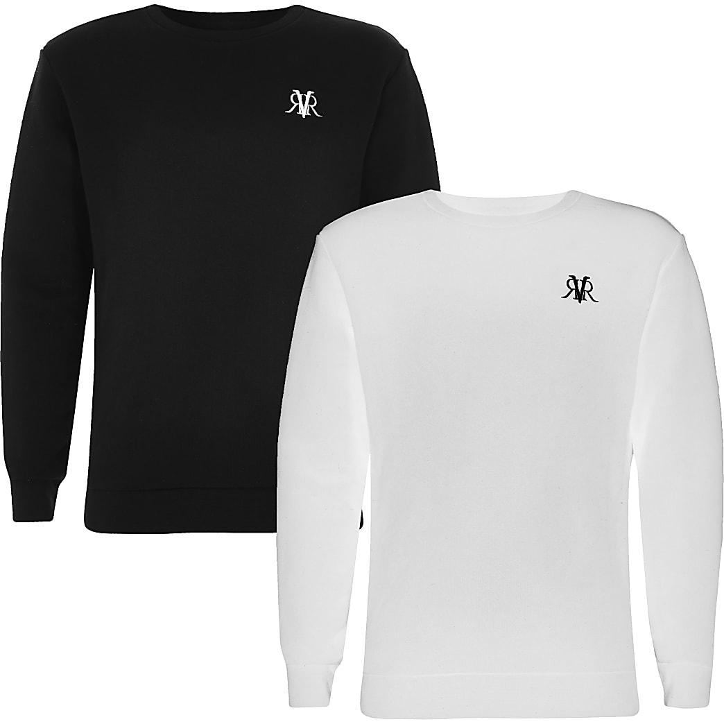 Boys black and white RVR sweatshirt 2 pack