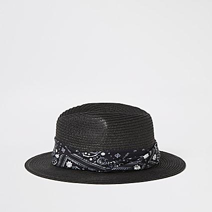 Boys black bandana print fedora hat