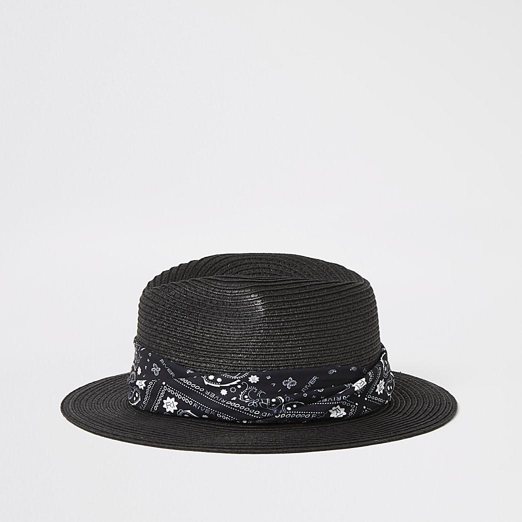 Zwarte fedora hoed met bandana-print voor jongens