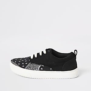 Boys black bandana print lace-up trainers