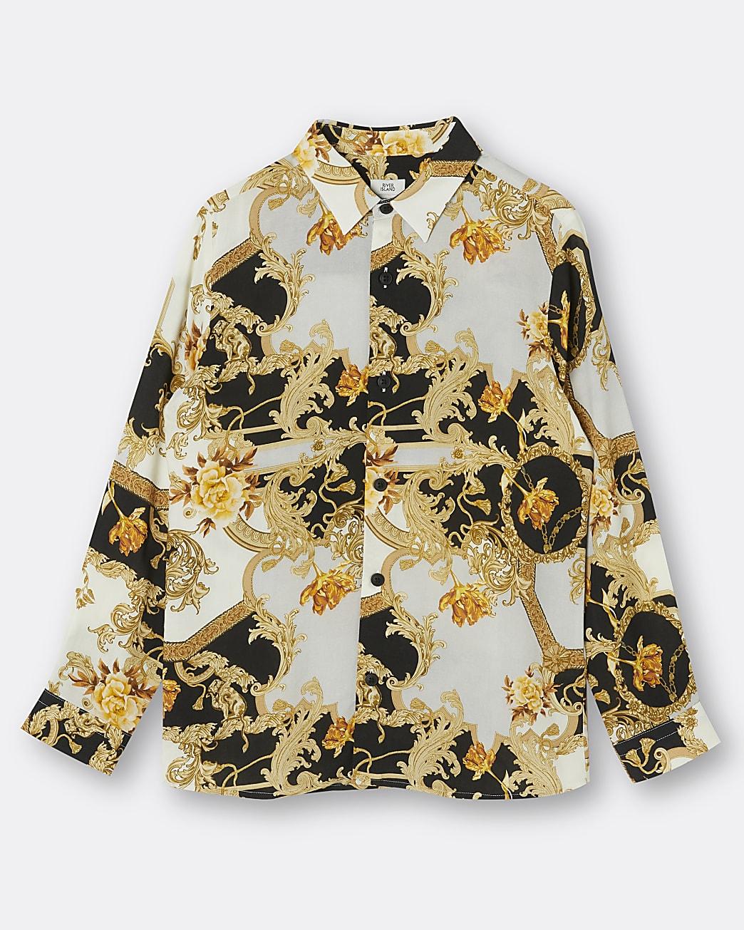 Boys black baroque print shirt