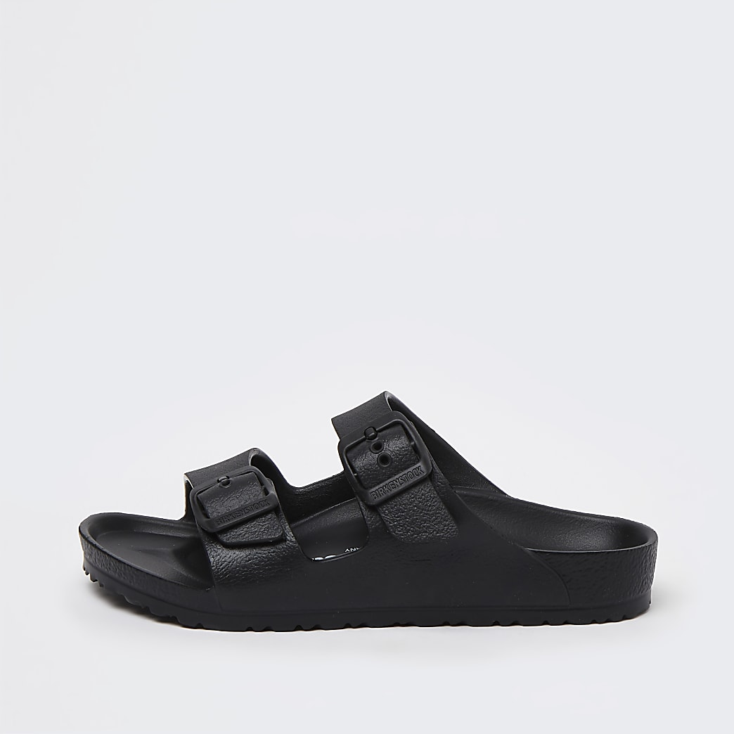 Boys black Birkenstock double strap sandals