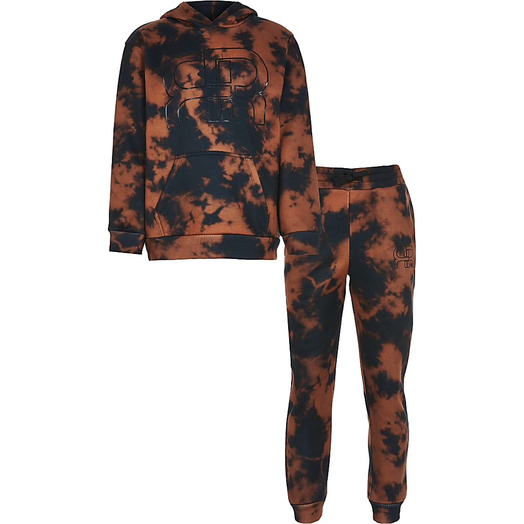Boys black bleached tie dye outfit