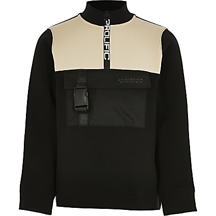 Boys black block funnel neck sweatshirt