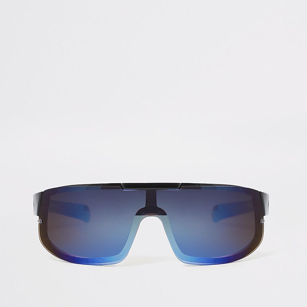Boys black blue lens visor sports sunglasses