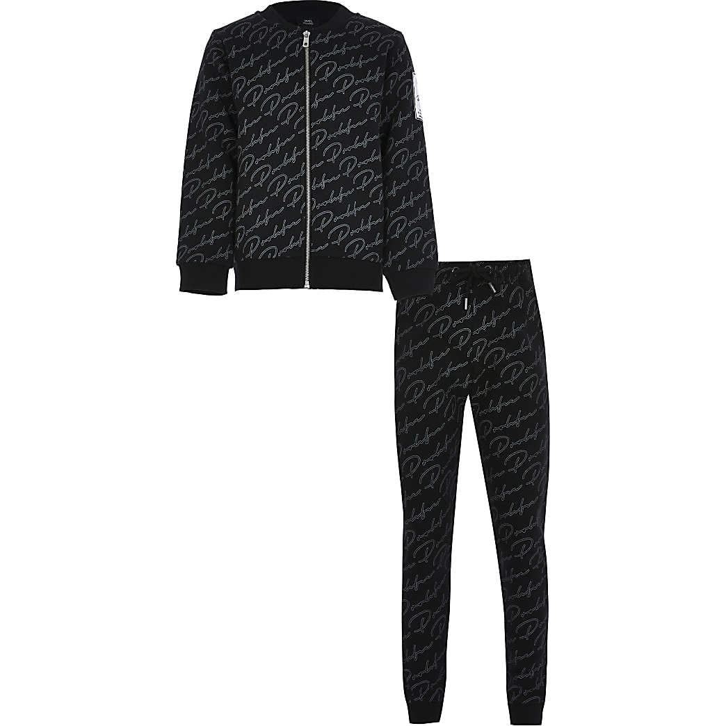 Boys black bomber and joggers outfit