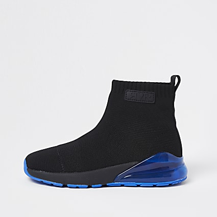 Boys black bubble sock hi top trainers