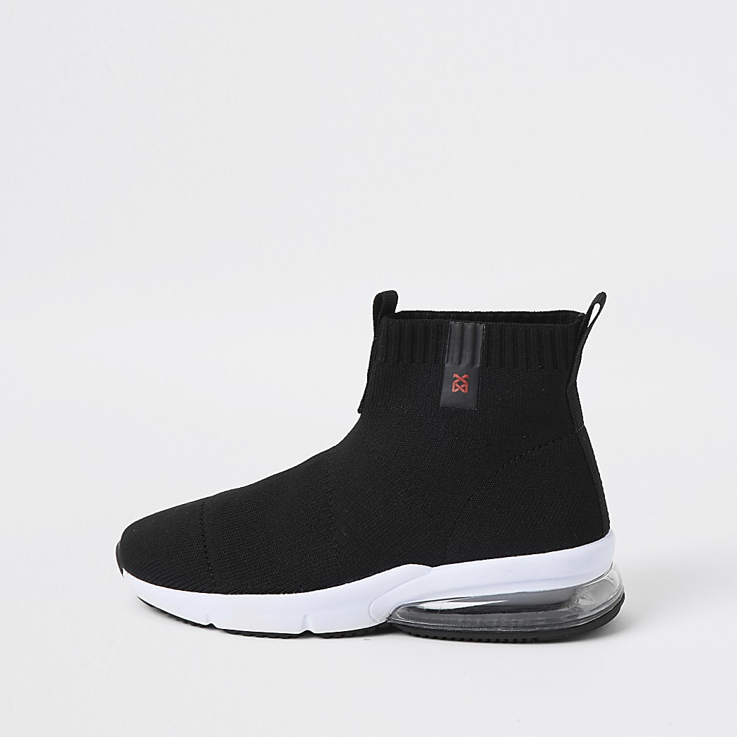 Boys black bubble sock trainers