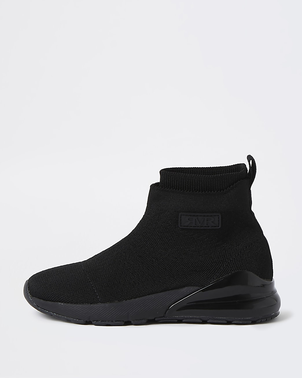 Boys black bubble sole sock high top trainers