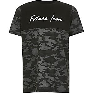 """Schwarzes Camouflage-T-Shirt mit Blockfarben""""Future"""" für Jungen"""