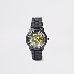 Boys black camo face sports watch