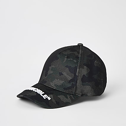 Boys black camo 'Invincible' mesh cap