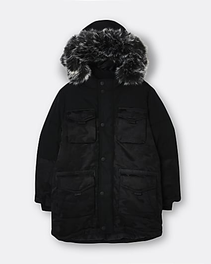 Boys black camo parka coat