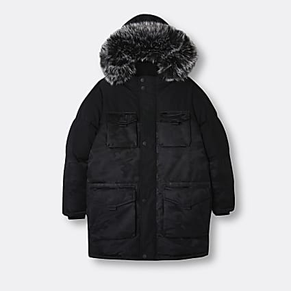 Boys black camo parka