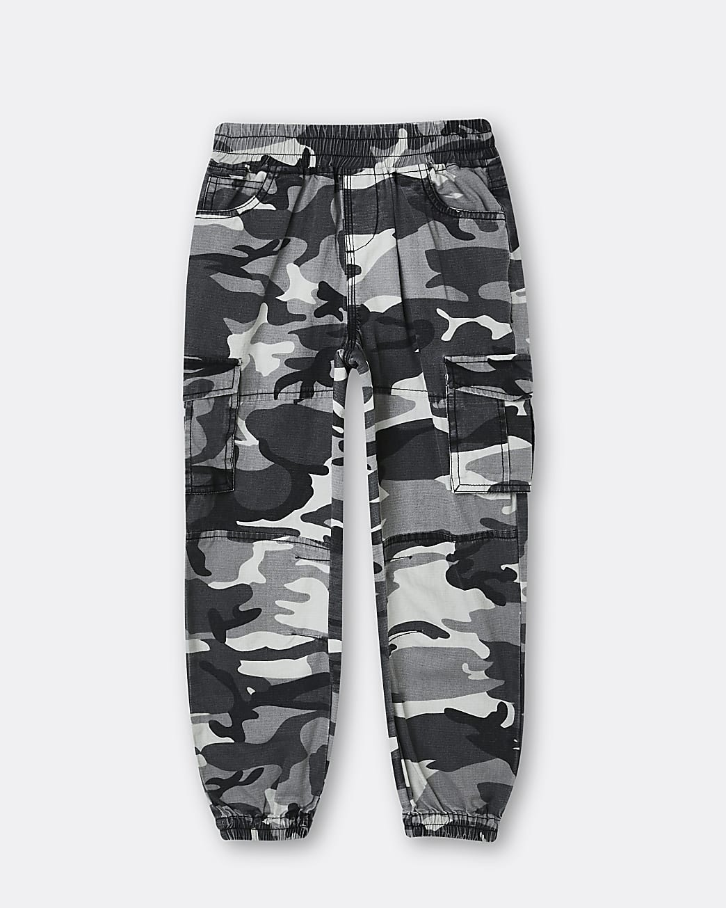 Boys black camo print cargo trousers