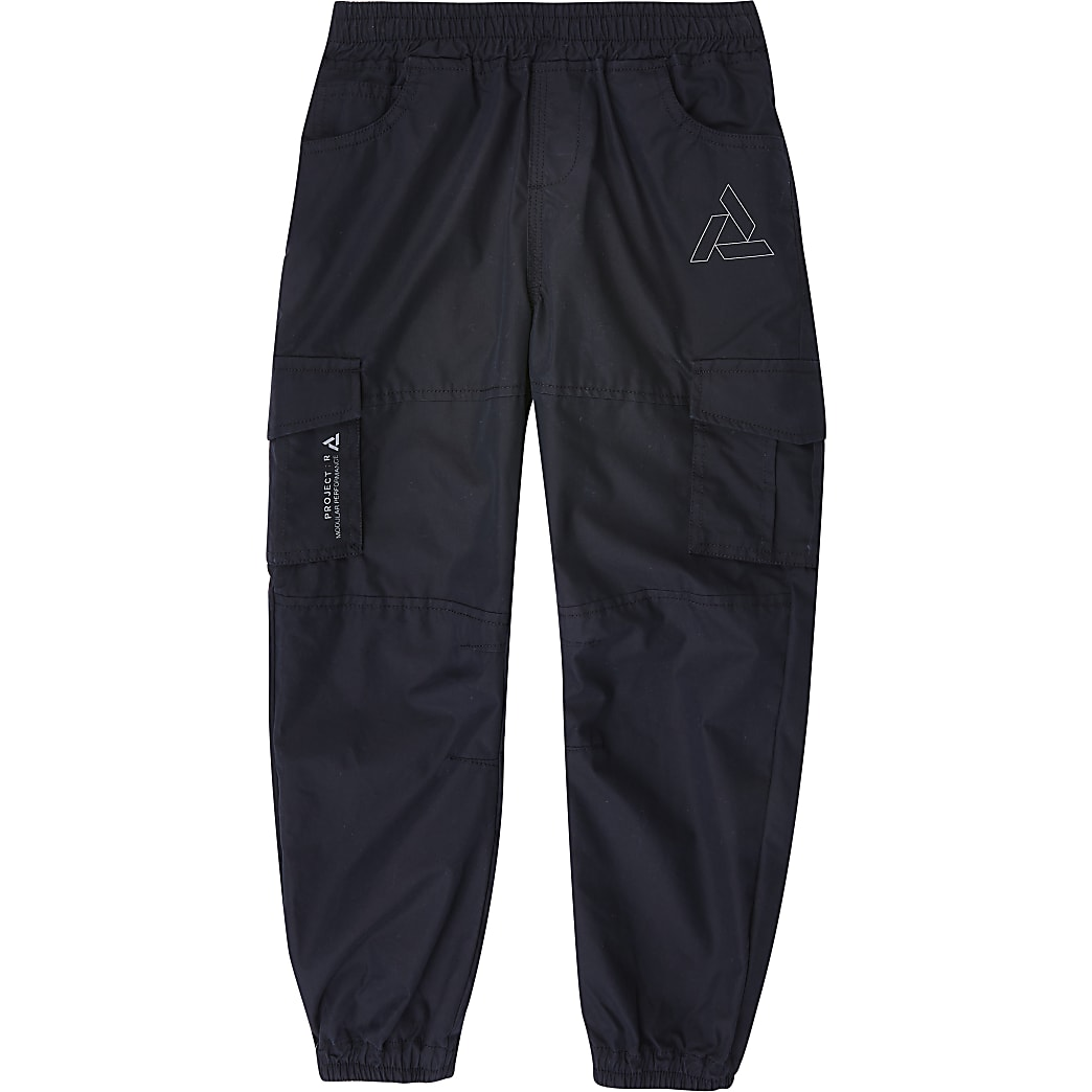 Boys black cargo trousers