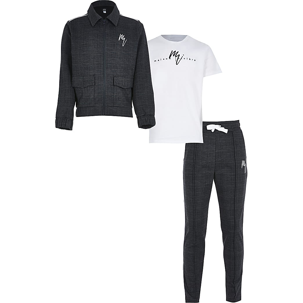 Boys black check 3 piece outfit
