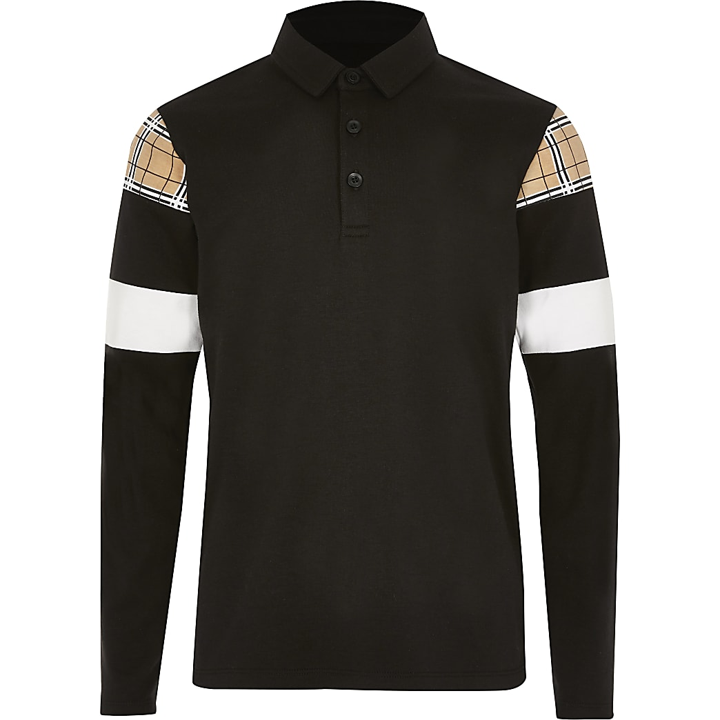 Boys black check blocked polo shirt