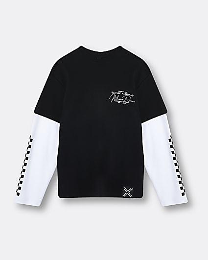 Boys black check double sleeve t-shirt