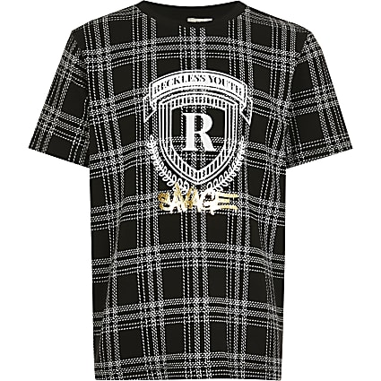 Boys black check foil R print t-shirt