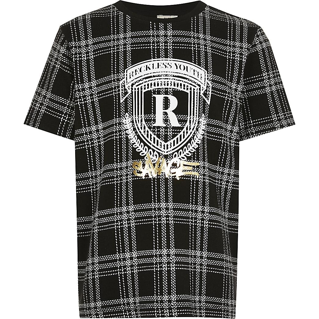 Boys black check foil R print t-shirt