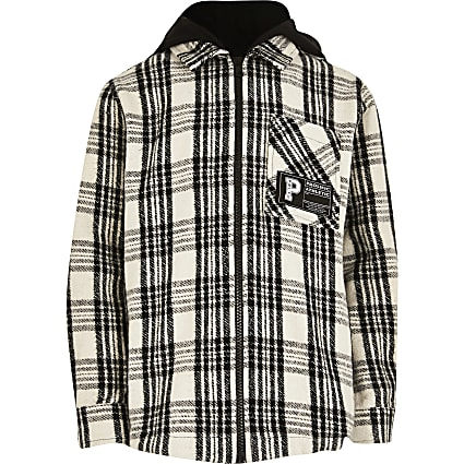 Boys black check hooded overshirt