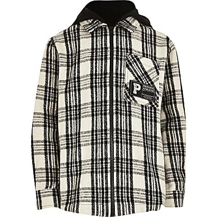 Boys black check hooded overshirt