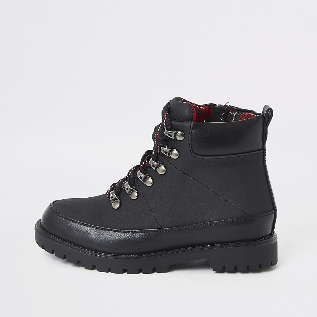 Boys black check lined hiking boots