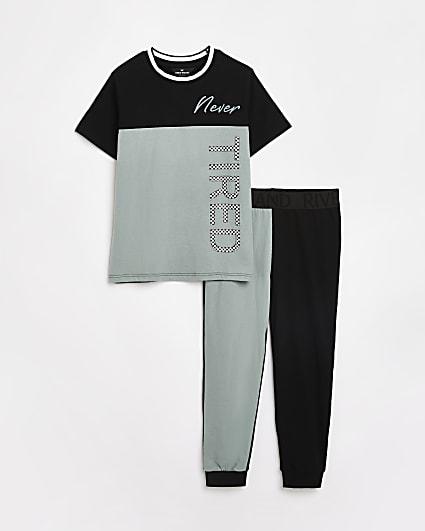 Boys black check print pyjama set