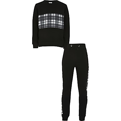 Boys black check tracksuit