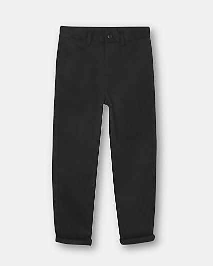 Boys black chino trousers