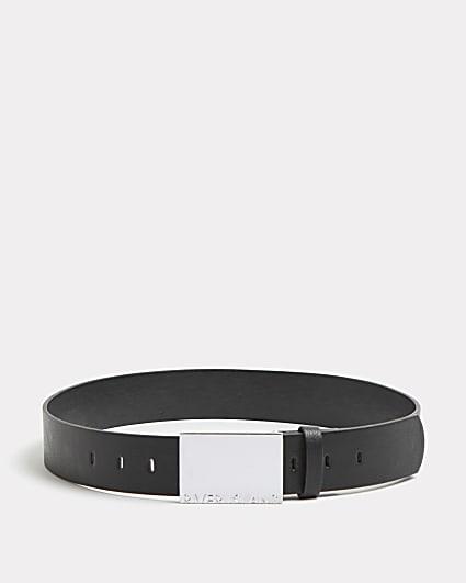 Boys black chunky silver buckle belt