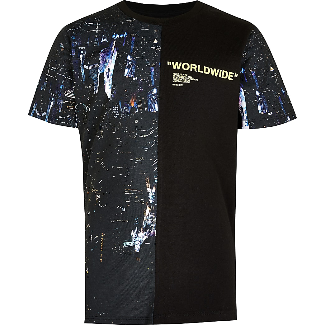 Boys black city print t-shirt