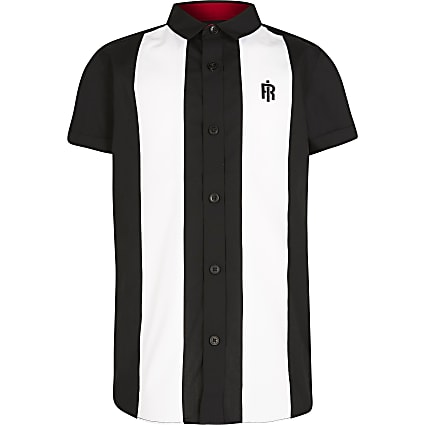 Boys black colour block bowling shirt