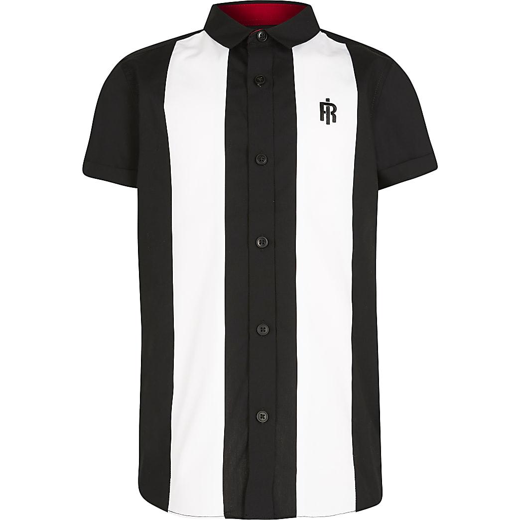 Boys black colour block bowling shirt