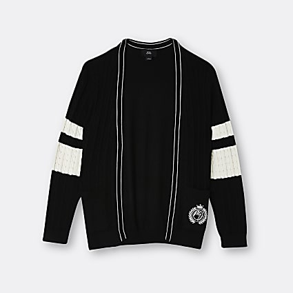 Boys black colour block cardigan