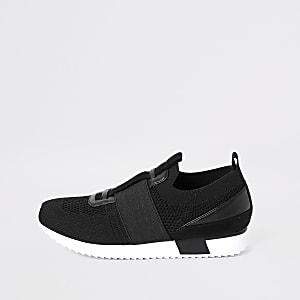 Zwarte elastische gebreide sneakers voor jongens